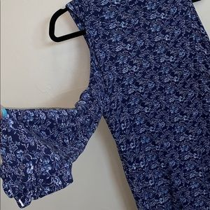 22a0aeda840436 Angie Tops - Angie - blue floral cold shoulder tunic blouse S